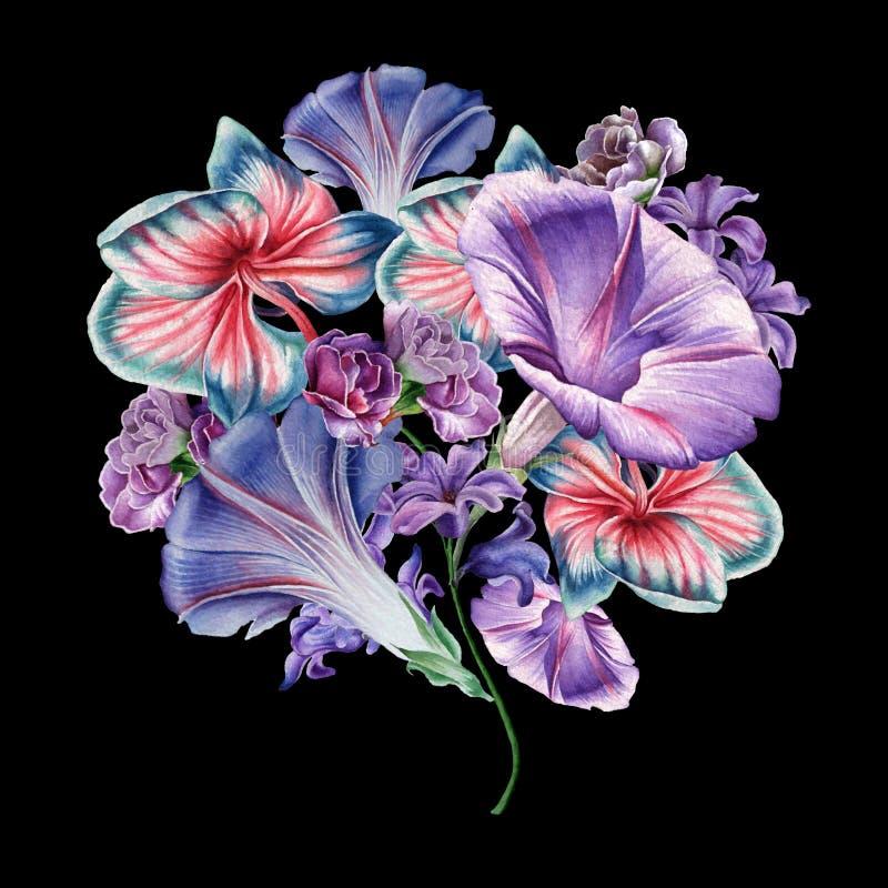 Ramo de la acuarela con las flores Orquídea petunia Ilustración imágenes de archivo libres de regalías