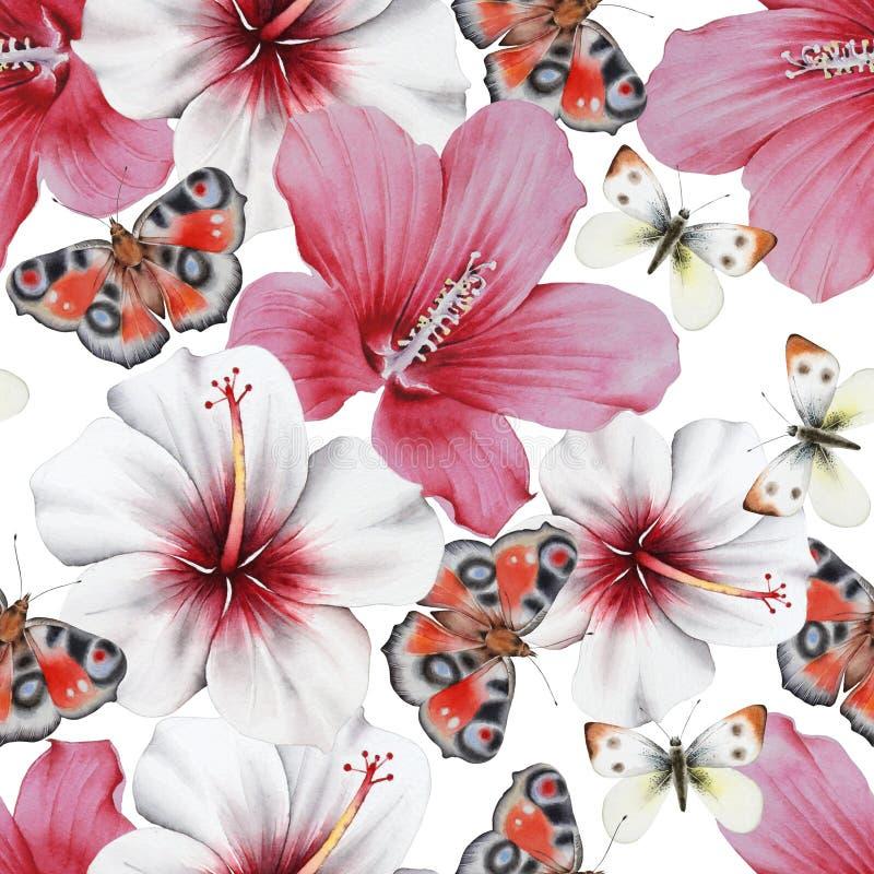 Ramo de la acuarela con las flores y las mariposas hibisco Ilustraci?n imágenes de archivo libres de regalías