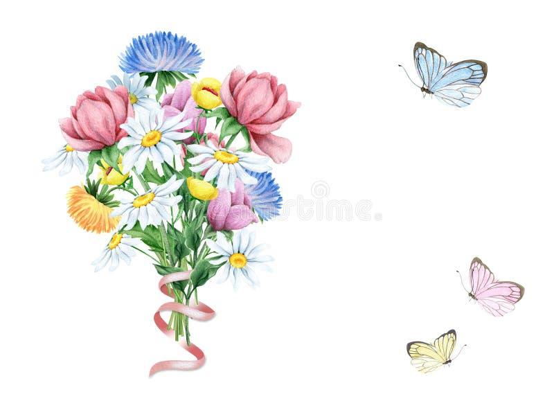 Ramo de la acuarela de flores y de mariposas en blanco ilustración del vector