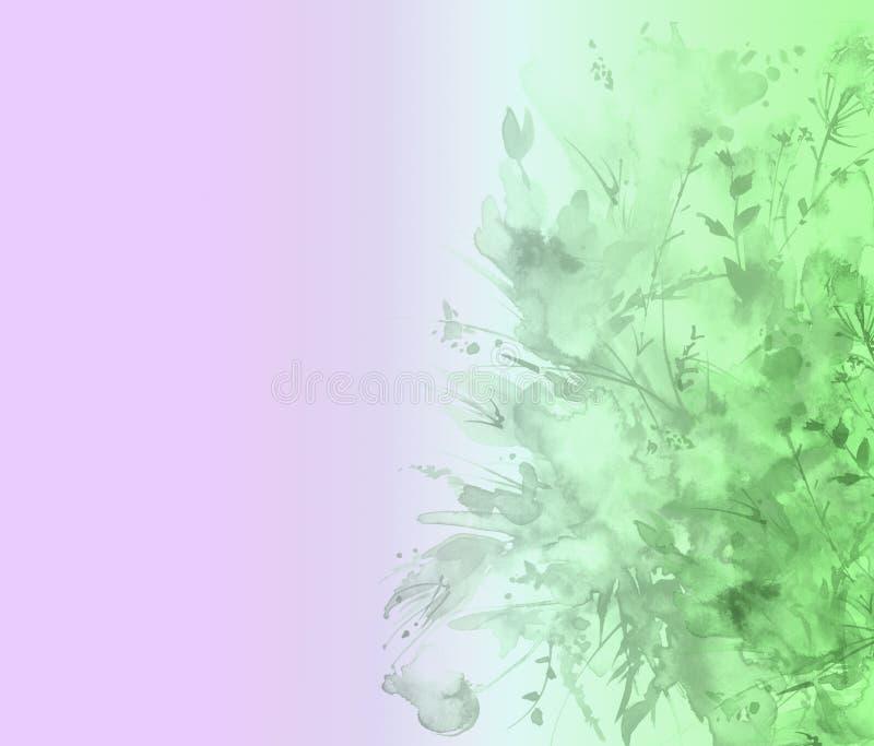 Ramo de la acuarela de flores Chapoteo abstracto hermoso de la pintura, ejemplo de la moda Flores del verde de la orquídea, amapo libre illustration
