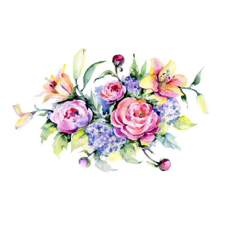 Ramo de la belleza Flor botánica floral Wildflower salvaje de la hoja de la primavera aislado stock de ilustración