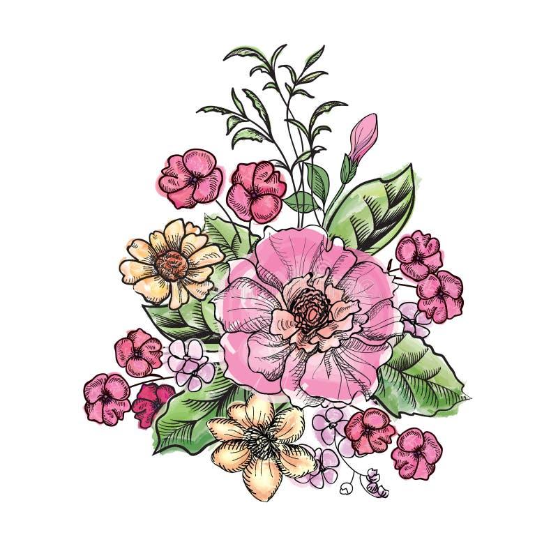 Ramo de la flor aislado Decoración floral del marco stock de ilustración