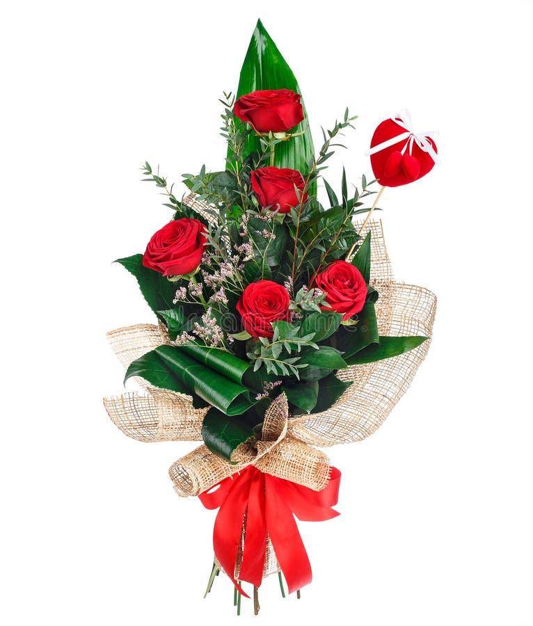 Ramo de la flor de rosas rojas fotografía de archivo libre de regalías