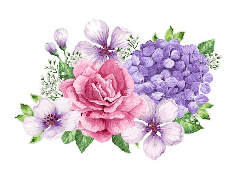Ramo de la flor del manzano, gypsophila en estilo de la acuarela aislado en el fondo blanco Para las tarjetas de felicitación, im stock de ilustración