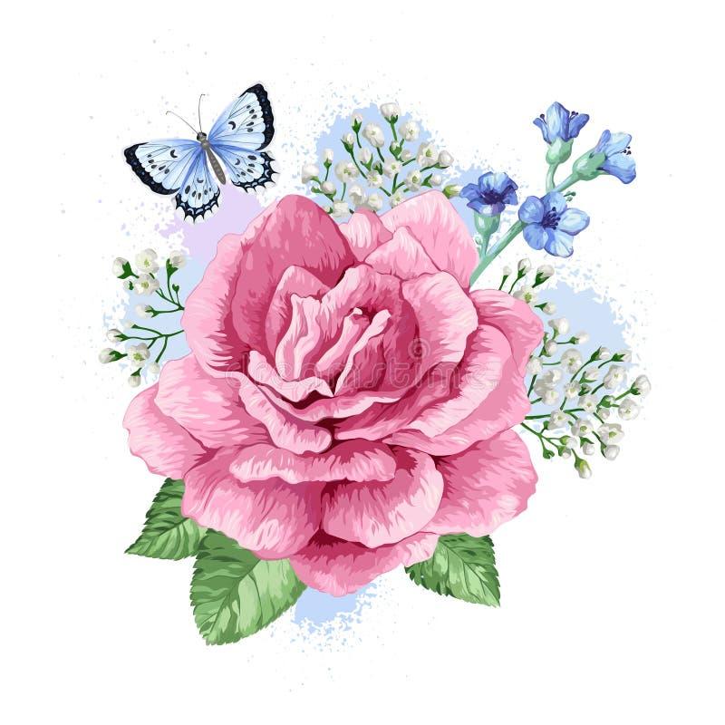 Ramo de la flor del manzano, gypsophila en estilo de la acuarela aislado en el fondo blanco Para las tarjetas de felicitación, im ilustración del vector