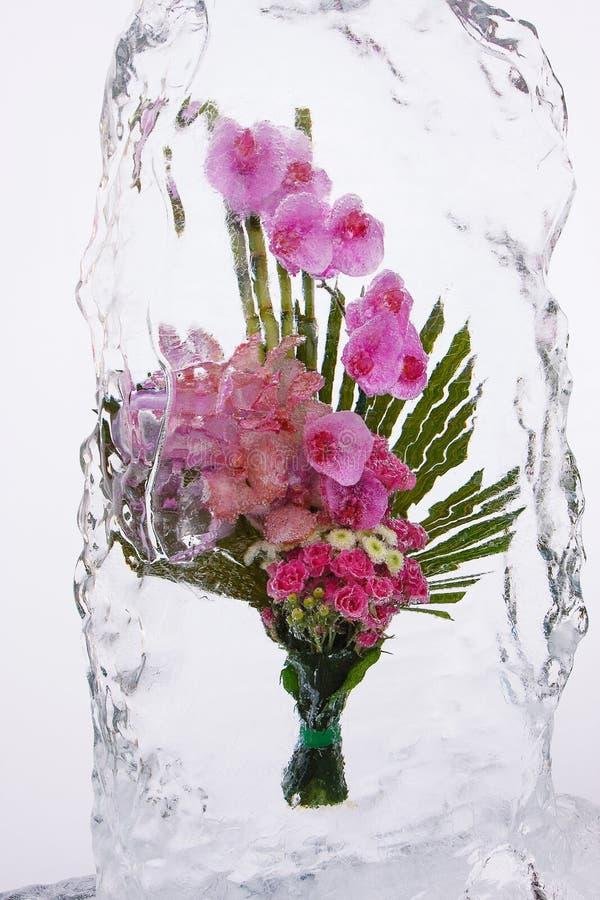 Ramo de la flor en hielo foto de archivo libre de regalías
