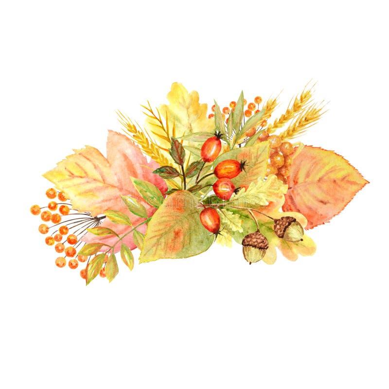 Ramo de la hoja del otoño aislado en un fondo blanco Ejemplo exhausto de la mano de la hoja del otoño de la acuarela libre illustration