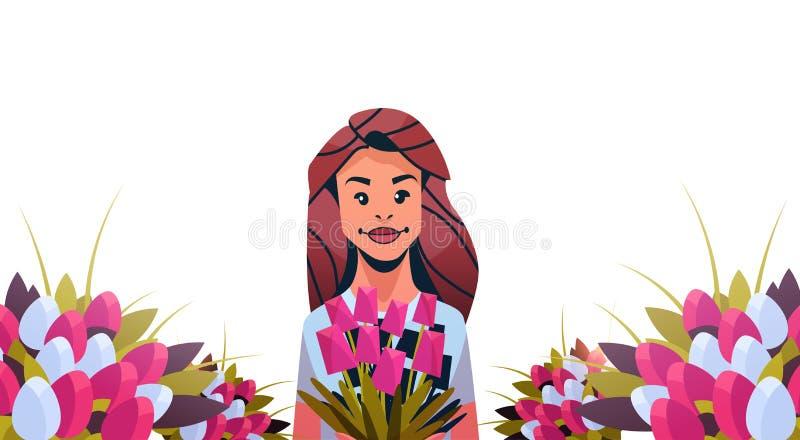 Ramo de la tenencia de la mujer tulipán flores de personaje de dibujos animados femenino mujeres día del 8 de marzo del día de fi ilustración del vector