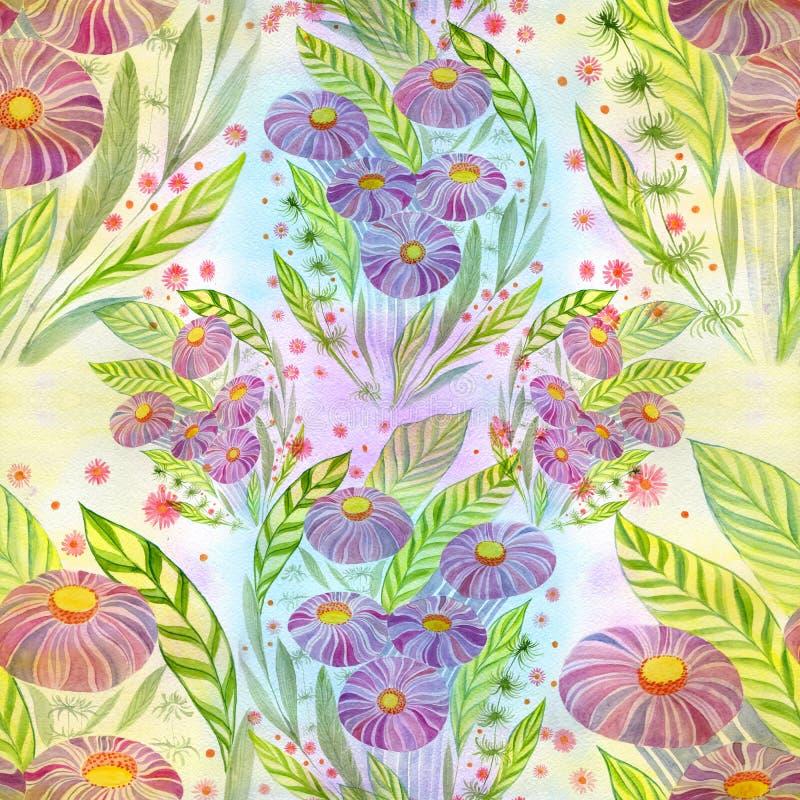 Ramo de las flores con las hojas, las flores y los brotes watercolor Modelo inconsútil libre illustration