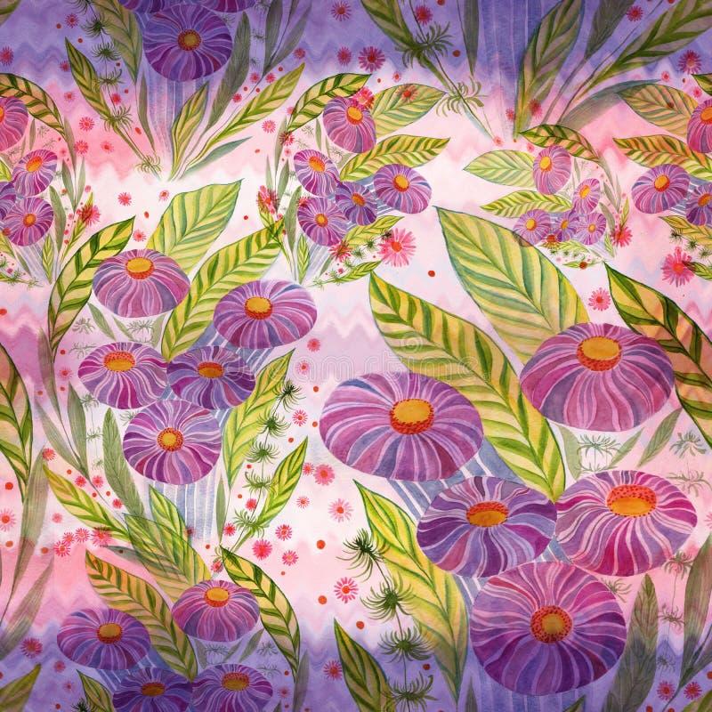 Ramo de las flores con las hojas, las flores y los brotes watercolor Modelo inconsútil stock de ilustración