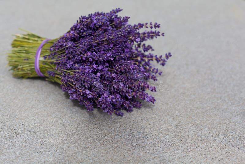 Ramo de las flores de la lavanda en la tabla fotografía de archivo