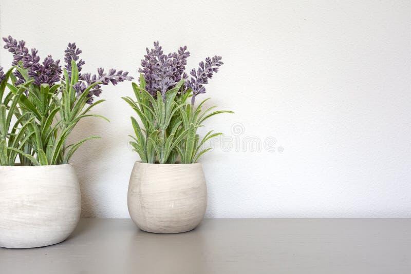 Ramo de lavanda seca en pote de cerámica con la pared blanca Copie el espacio para el texto foto de archivo