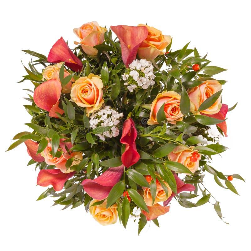 Ramo de opinión superior de las flores aislado en blanco fotografía de archivo