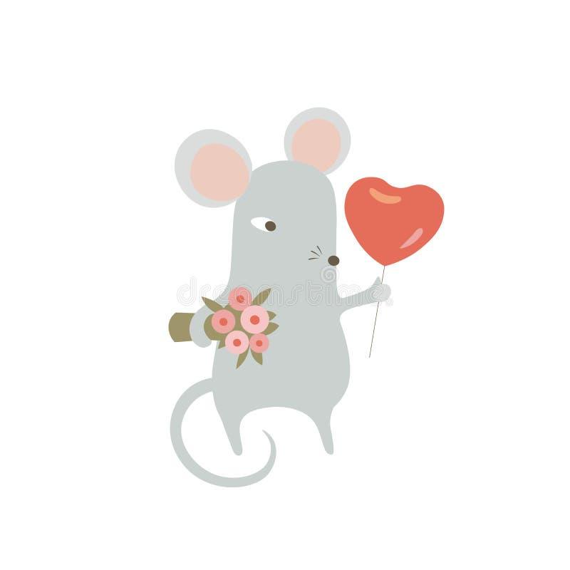 Ramo de ratón y globo en forma de corazón Rata divertida con regalos de San Valentín Símbolo chino de zodiaco animal 2020 stock de ilustración