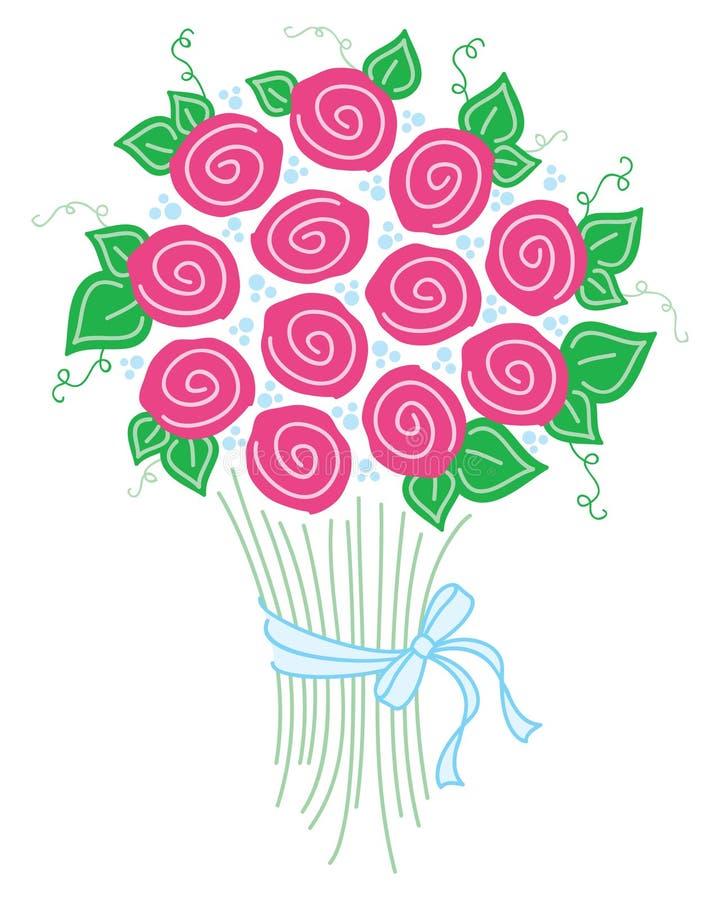 Ramo de rosas stock de ilustración