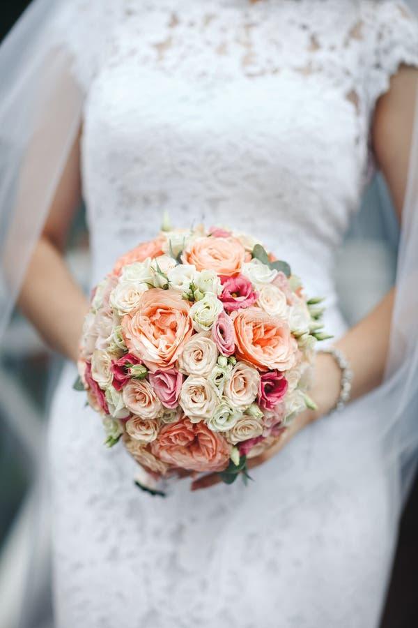 Ramo de rosas pión-formadas en las manos de novias, primer de la boda, en un fondo blanco del vestido fotografía de archivo