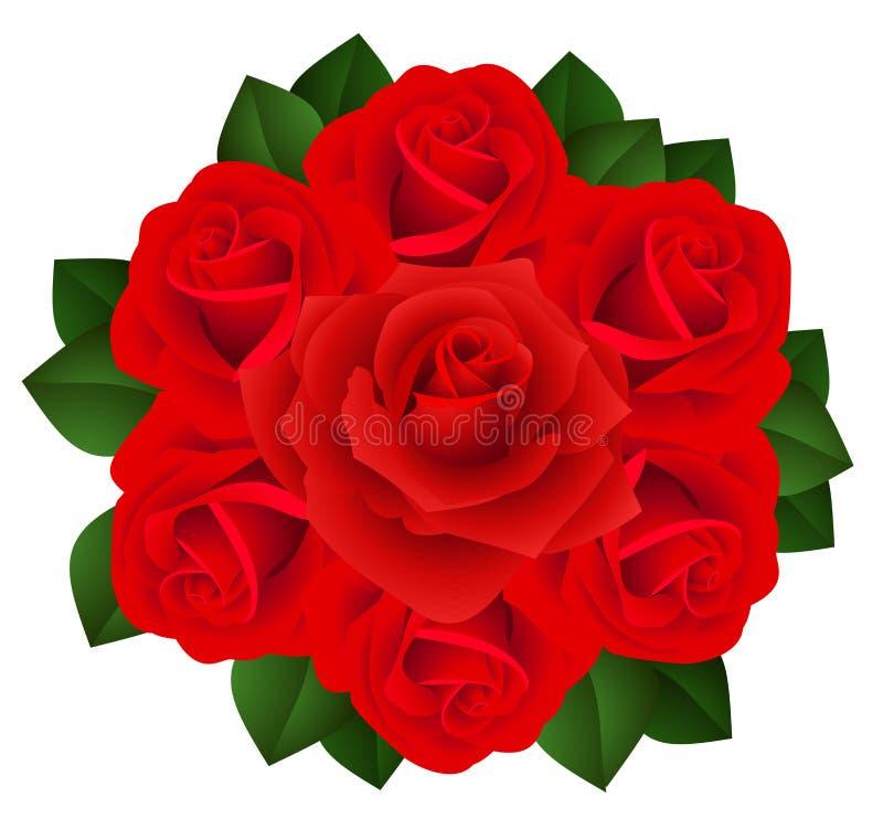 Ramo de rosas rojas. Ilustración del vector. libre illustration