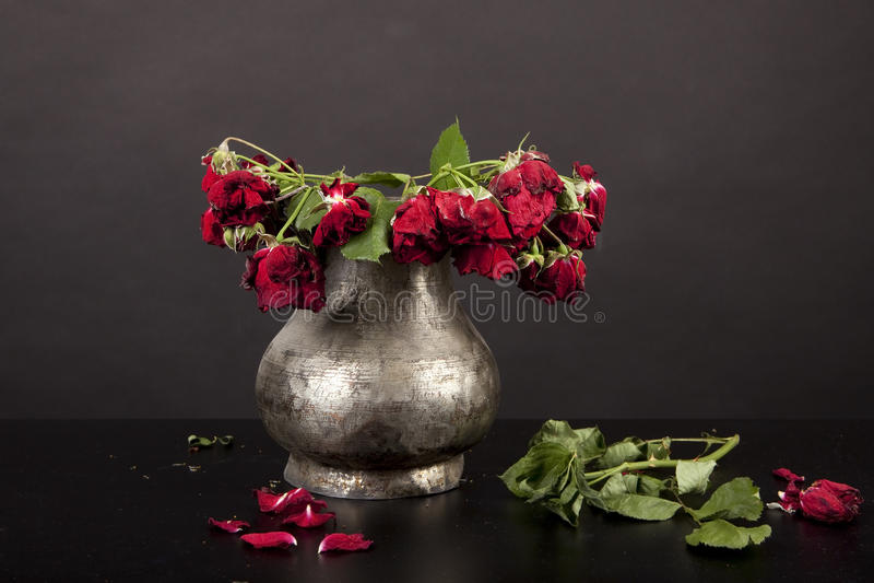 Ramo de rosas rojas muertas, florero de plata, fondo negro foto de archivo libre de regalías