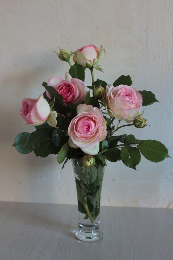 Ramo de rosas rosadas hermosas en un florero de cristal en un fondo ligero imágenes de archivo libres de regalías