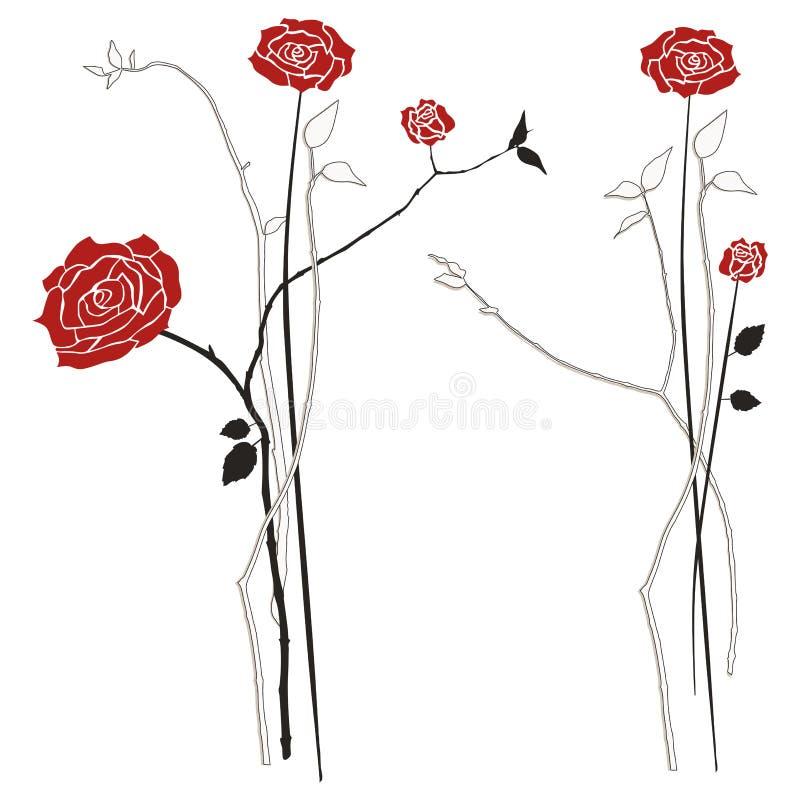 Ramo de rosas, sistema del ejemplo del vector ilustración del vector