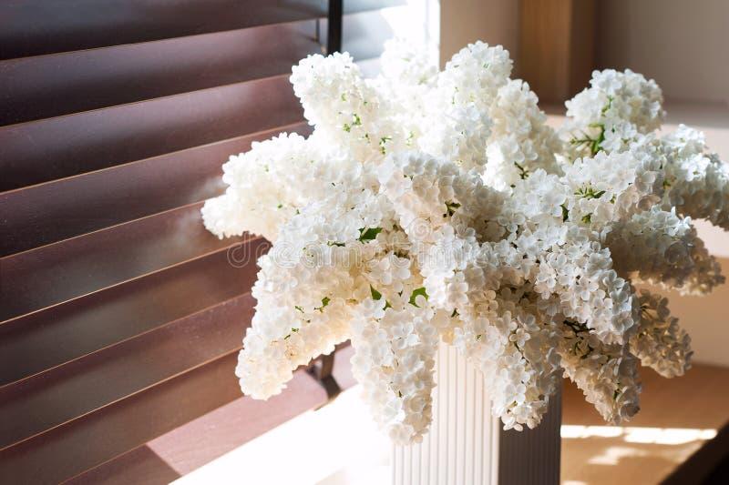 Ramo de syringa blanco suave de la lila en sulight Retro filtrado imagen de archivo libre de regalías