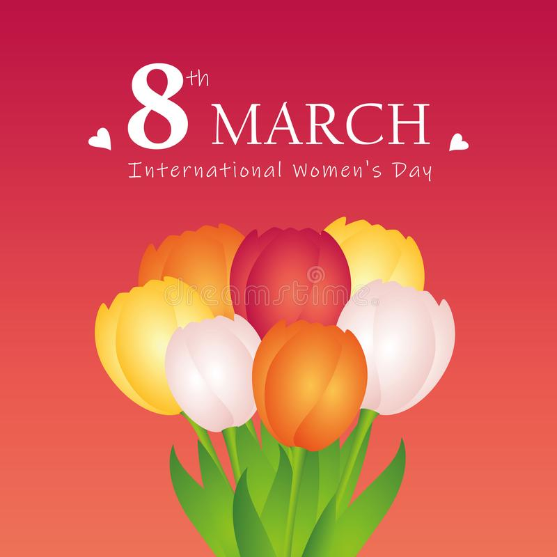 Ramo de tulipanes coloridos para mujer internacional día el 8 de marzo libre illustration
