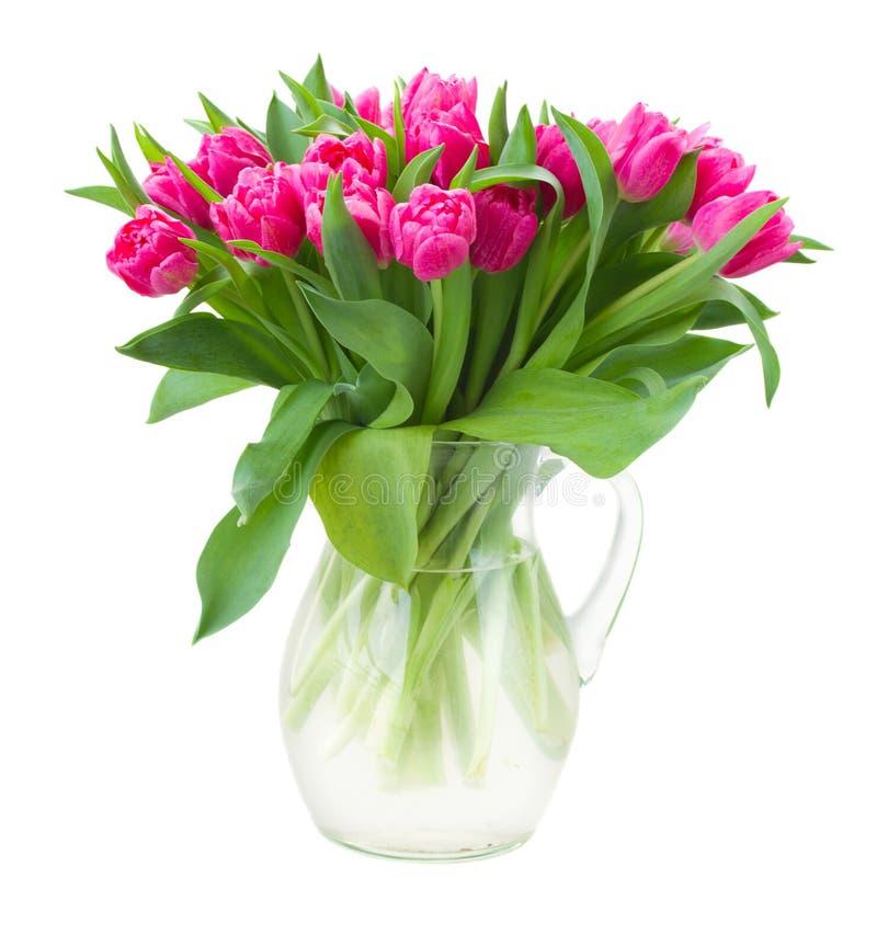 Ramo de tulipanes rosados en florero foto de archivo libre de regalías
