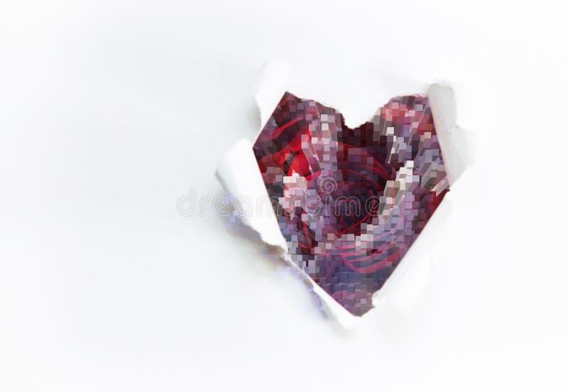 Ramo del arte de rosas rojas y de los corazones de papel foto de archivo