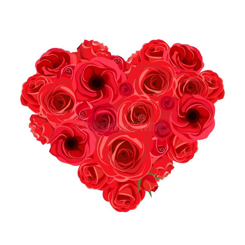 Ramo del corazón de rosas rojas Ilustración del vector ilustración del vector