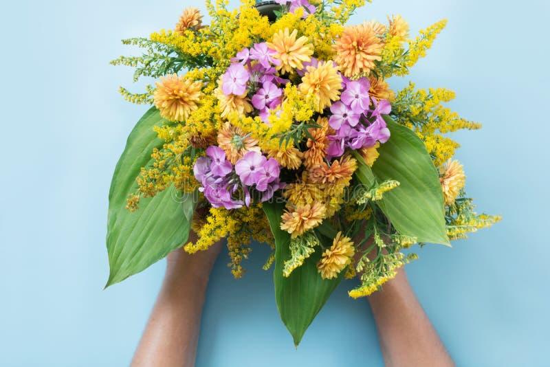 Ramo del otoño de wildflowers amarillos en mano femenina en azul fotografía de archivo libre de regalías