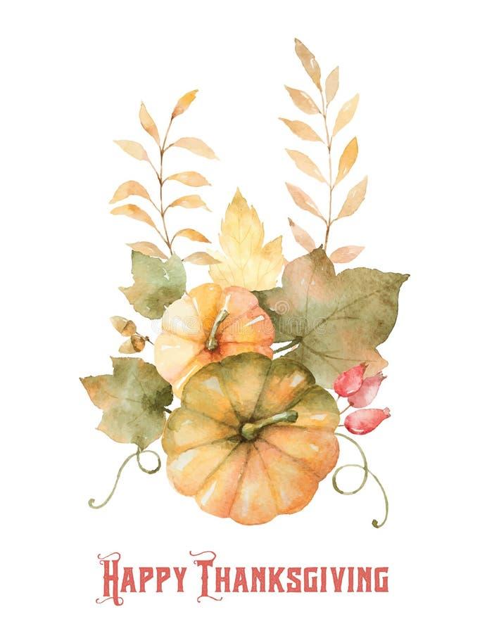 Ramo del otoño del vector de la acuarela de hojas, de ramas y de calabazas aisladas en el fondo blanco stock de ilustración
