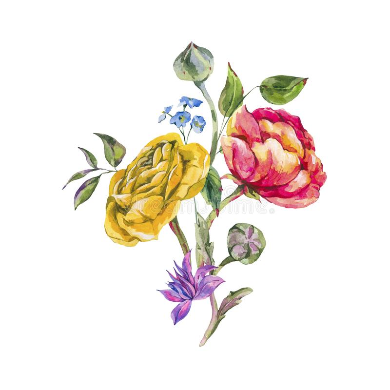 Ramo del verano de la acuarela de ranúnculo y de Wildflowers libre illustration