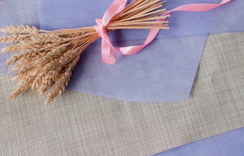 Ramo delicado hermoso con la cinta rosada de los oídos secados del trigo en la tabla con una hoja de papel púrpura foto de archivo