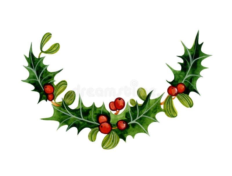Ramo dell'agrifoglio di Natale dell'acquerello royalty illustrazione gratis