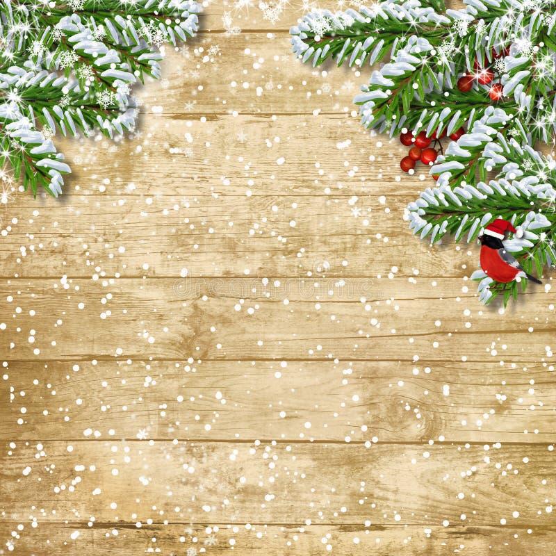 Ramo dell'albero di Natale con le precipitazioni nevose sul bordo di legno illustrazione vettoriale