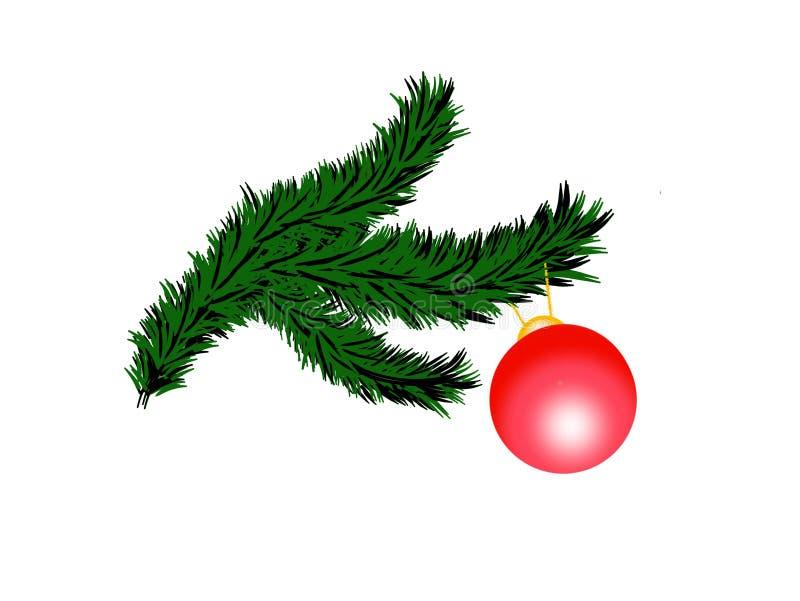 Ramo dell'albero di Natale e palla rossa per illustrazione di festa del nuovo anno la 2D isolata su bianco illustrazione di stock