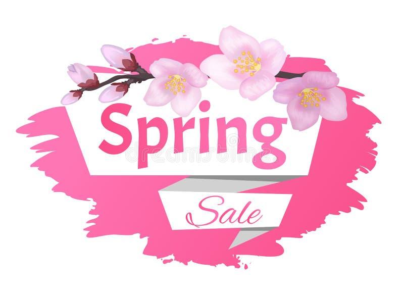 Ramo dell'etichetta della pubblicità di vendita della primavera di Sakura illustrazione vettoriale