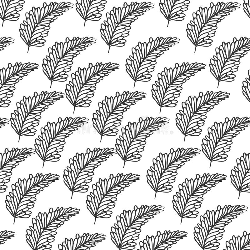 Ramo della siluetta del modello con le foglie multiple royalty illustrazione gratis