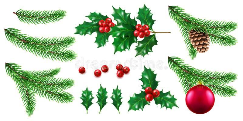 Ramo di albero dell'abete o del pino con la bacca dell'agrifoglio e del giocattolo royalty illustrazione gratis
