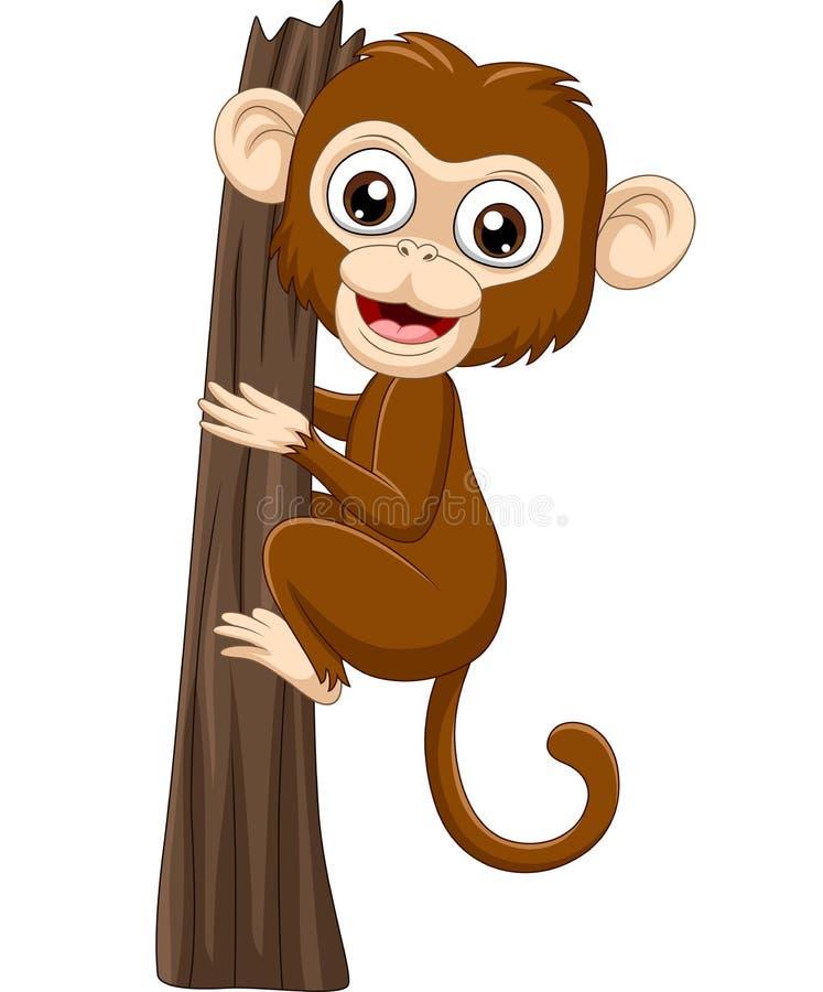Ramo di albero rampicante della scimmia del bambino del fumetto illustrazione di stock