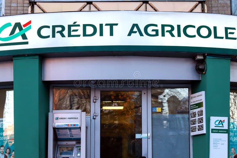 Ramo di grande credito bancario francese Agricole, gruppo finanziario della Francia a Dniepropetovsk, Dnipro fotografia stock libera da diritti