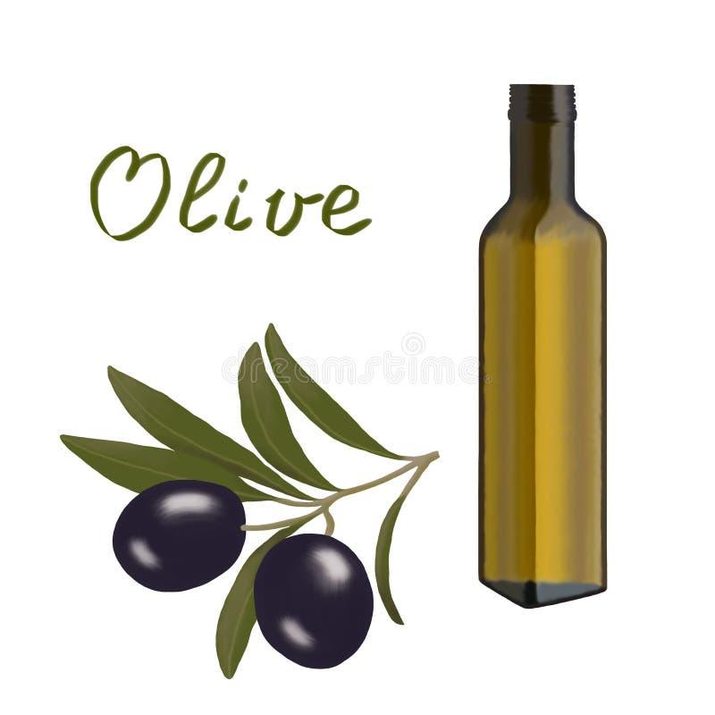 Ramo di olive e una bottiglia con olio d'oliva illustrazione di stock