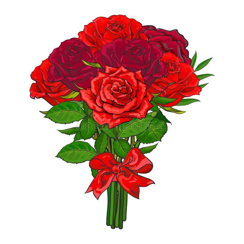 Ramo dibujado mano de las rosas rojas del vector ilustración del vector