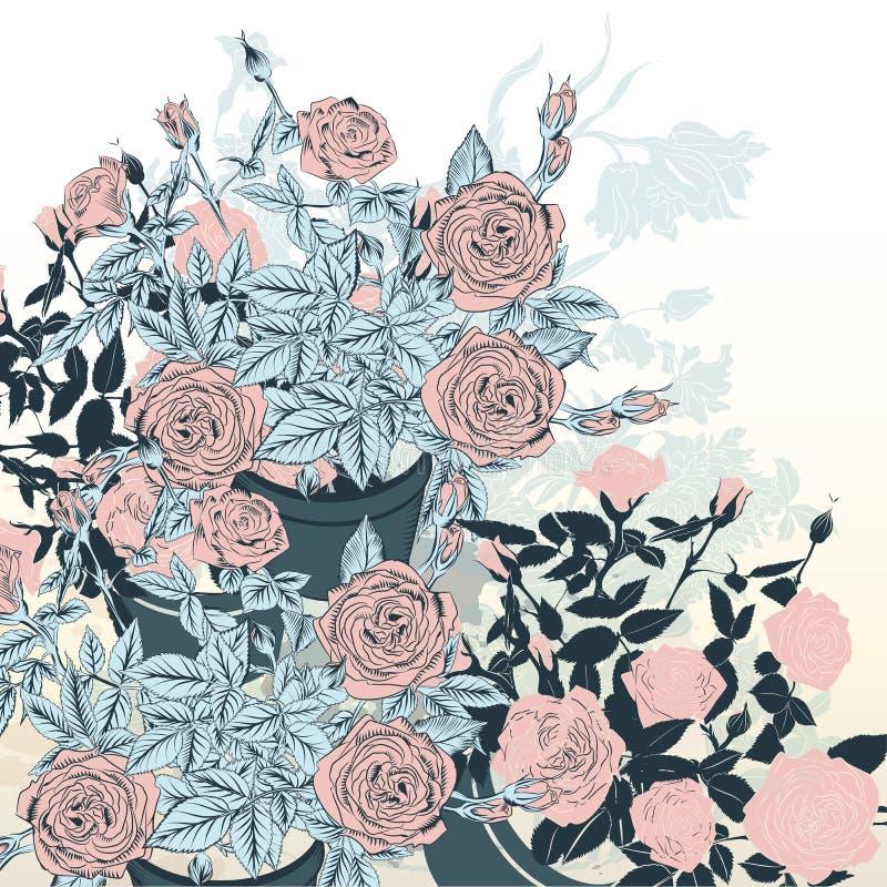 Ramo dibujado mano hermosa del vector de flores color de rosa para casarse libre illustration