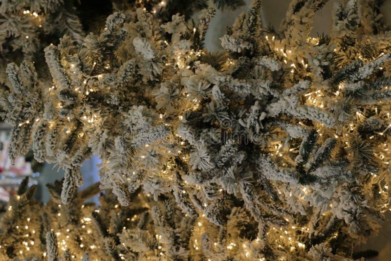 Ramo do abeto com bolas e luzes festivas no fundo do Natal com sparkles fotos de stock royalty free