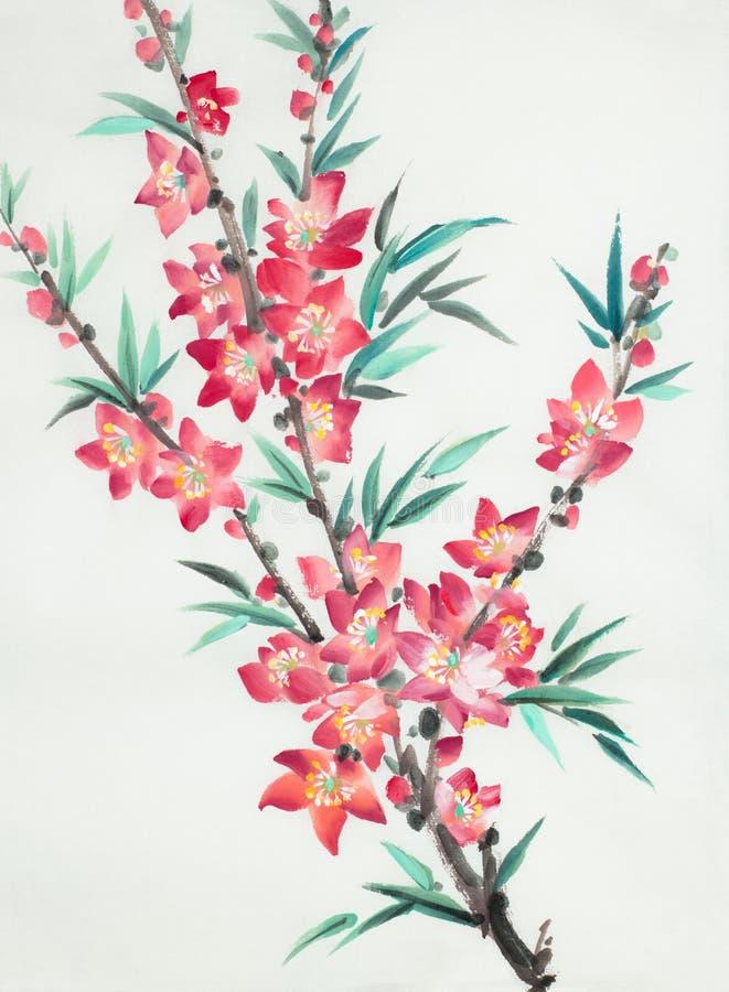Ramo do pêssego de florescência ilustração stock