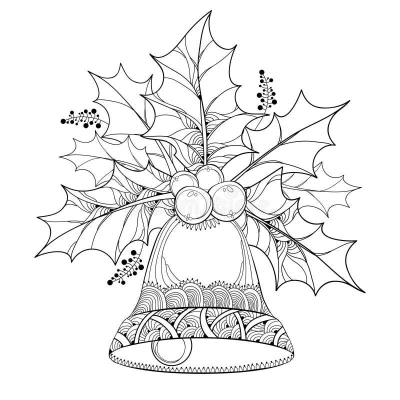 Ramo do vetor com folhas do esboço e bagas da baga do Ilex ou do azevinho e sino ornamentado no fundo branco ilustração do vetor