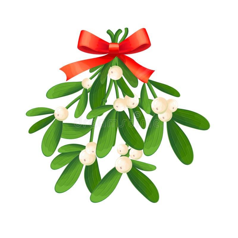 Ramo do visco com bagas e curva vermelha Um ramalhete do Natal fotografia de stock royalty free