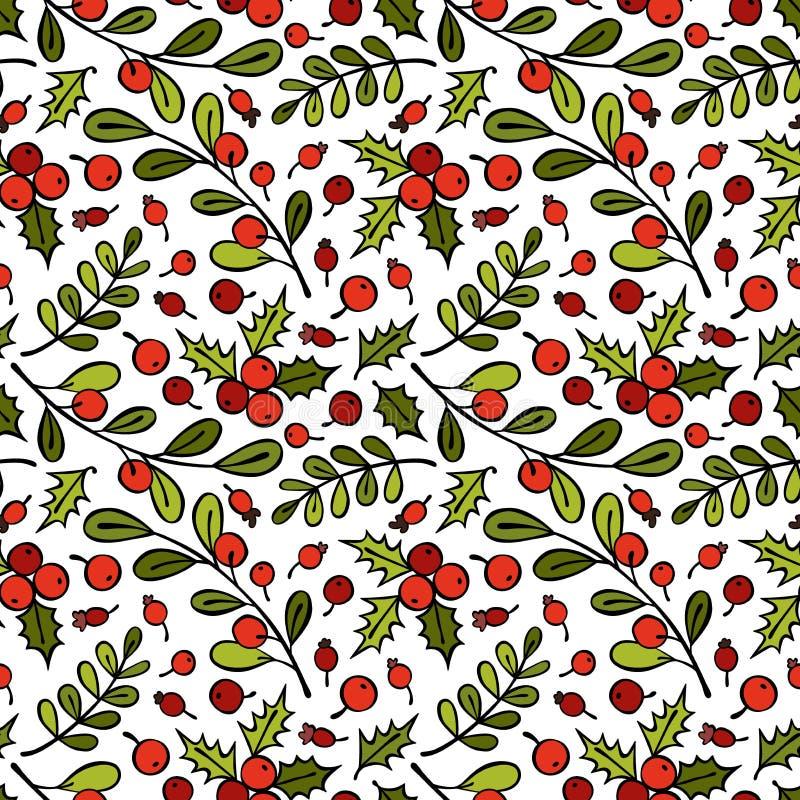 Ramo do visco Rowan Berries Galhos e folhas Fundo sem emenda do teste padrão do vetor fotografia de stock