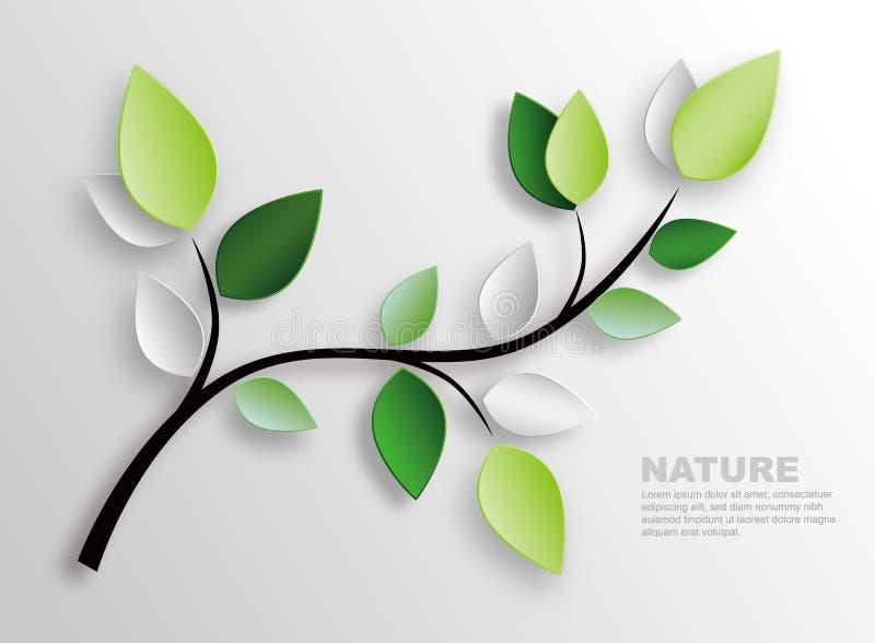 Ramo e folhas ilustração stock